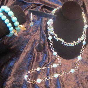 Turquoise/Aqua Necklaces,Bracelet,Earrings